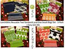 LunchSkins Reusable 2 Sandwich and 1 Snack Bags Set - 3 Pack. Best Gifts Ever.