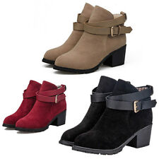 Roman Women Ankle Buckle Strap Faux Suede Block Mid Heel Ankle Boot Martin Shoes