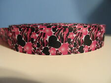 Grosgrain Ribbon, Hot Pink Black Zebra Hearts, Love, Valentine, Wild Hearts 7/8""