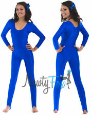 Blue Scoop Neck Long Sleeve Super Hero Spandex Stirrup Unitard Bodysuit S-2XL