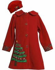NEW Bonnie Jean Christmas Tree Peacoat Holiday  Coat and Hat Set  Red 4 5 6 6X