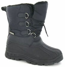 WOMENS SNOW WINTER THERMAL WATERPROOF BOOTS FUR LINED SHOE SIZE 3 - 9 BLACK NEW