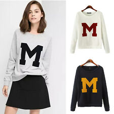 Women's Letter M Embroidery Casual Sweats T Shirt Long Sleeve Pullover Tops GX62