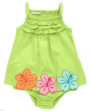 Baby Girl's Sunsuit First Impressions Infant Hibiscus One-piece Plasma Green
