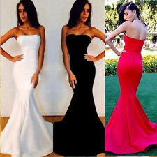 Strapless Mermaid fishtail Evening Wedding Party Prom Gown Formal Cocktail Dress