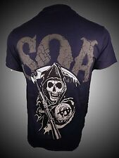 SONS OF ANARCHY SOA NAVY SAMCRO 2 SIDED SICKLE BIKER LOGO ROCK T TEE SHIRT S-3XL