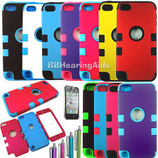 For iPod Touch 5th Gen - HARD & SOFT RUBBER HIGH IMPACT ARMOR CASE HYBRID COVER