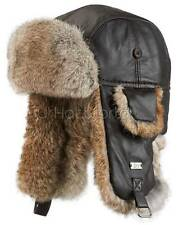Leather Rabbit Fur Aviator Hat - Brown -Brand: FRR