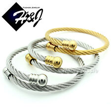 MEN WOMEN Stainless Steel Gold/Silver Twisted Cable Adjustable Bangle Bracelet
