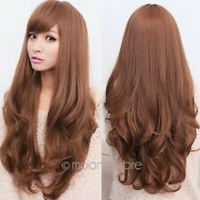 New Womens Long Brown Curly Wavy Full Wigs Party Hair Cosplay Lolita Fashion Wig