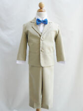 Baby Toddler Teen boy khaki/white formal suit with color bow tie wedding party