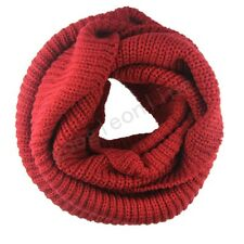 Men Women Winter Warm Infinity 2 Circle Cable Knit Cowl Neck Long Scarf Shawl