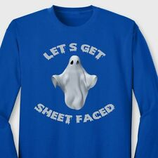LETS GET SHEET FACED T-shirt Funny Halloween Party Ghost Long Sleeve Tee