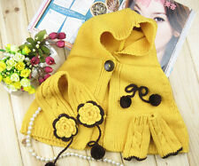 Baby Girl Toddler Winter Warm Knit Shawl Earmuffs Scarf Cape Hat Gloves LT