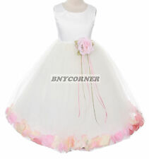 Ivory Satin Flower Girls Petal Dress Customize Pageant Wedding Bridesmaid Winter