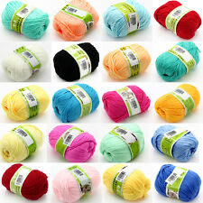 100g Knitting Yarn Skein Baby Super Smooth Worsted Soft Natural Silk Wool Fiber