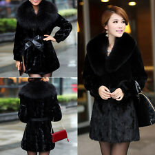 Winter Warm Womens Luxury Mink Fur Sleeve Long Coat Jacket Outwear Fur Collar