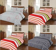 PERCALE 100% COTTON PRINTED DUVET COVER +PILLOWCASES SINGL DOUBLE KNG SUPER KING