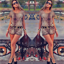Women's Sexy Fashion Leopard Bandage Bodycon Jumpsuits Cocktail Party Clubwear