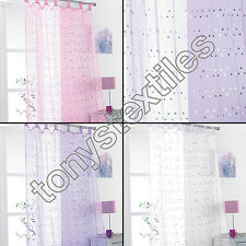 DAISY SEQUIN SPARKLE GLITTER VOILE CURTAIN PANEL TAB TOP NET WHITE PINK LILAC