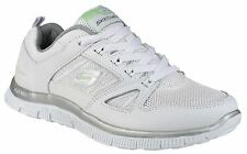 Skechers Mens White Lace Up Fastening Canvas Flex Appeal Spring Fever Trainers