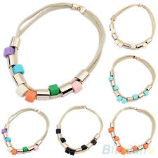 LADY CHARMING CYLINDER BEADS DOUBLE ROPE CHAIN CLAVICLE CHOKER PENDANT NECKLACE
