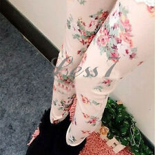 NEW Elegant Women Lady chic Rose Floral Print Leggings Slim Tights Pants Legging