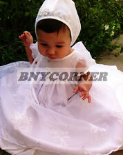Infant Girl Baptism Christening Dedication White Gown Bonnet Dress New Born S-XL