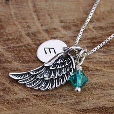 925 Sterling Silver Personalised Angel Wing Pendant Chain Necklace & Birthstones