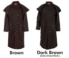 M L XL 2XL  Mens Cloth Oilskin Western Australian Waterproof Duster Coat Jacket