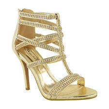 Womens High Heel Diamante Detailed Party Prom Bridal Sandals UK 3-8
