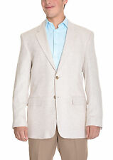 Club Room Classic Fit Tan Herringbone Two Button Linen Blend Blazer Sportcoat