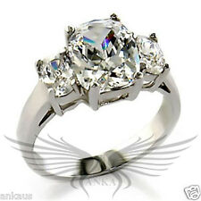 Brilliant Radiant Cubic Zircon CZ AAA 925 Silver Engagement Ring 5 6 10 32120