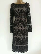 NEW M&S MARKS SPENCER 10-20 Black Lace Dress Metallic Floral Evening Midi Shift