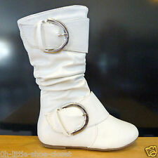 White Dress Casual Slouchy Flat Walking Boots Baby & Toddler Size 10,11