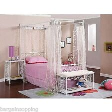 Canopy Metal Wrought Iron Princess Bed Frame Twin Girls ~ White or Pink or Black