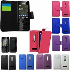 FLIP WALLET GEL CASE POUCH PU LEATHER COVER FOR NOKIA 301