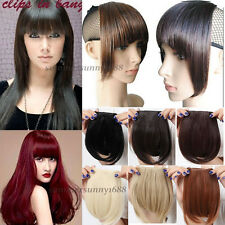 Clip in on Front Neat Bang Fringe Hair Extension Black Brown Blonde US Ship ss62