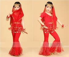 New!! Girls Kids Belly Dance Costume Top Pants Bollywood Halloween Indian Outfit