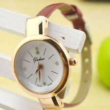 Candy Color Women Lady Thin Strap Quartz Wrist Watch Rose Golden Dial Fashion