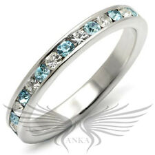 Brilliant Round Cut Top Grade Crystals 925 Sterling Silver Eternity Band 35127