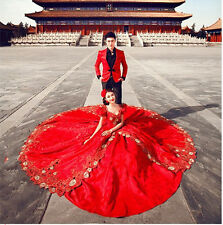 Red Retro Long Train Wedding Dresses Quinceanera Prom Prom Pageant  Ball Gown