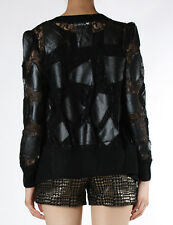 black square faux fake leather patched jacket sheer lace statement korea outfit
