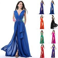Sexy Chiffon Split Long Formal Prom Dresses Party Bridesmaid Evening Ball Gowns