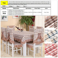 Dinner Table Cloth Cover Chair Back Cover Seat Cushion Pad - Pink Blue Coffee