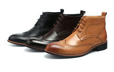 Winter Men Casual Leather Wing Tip High Top Dress Shoes Ankle Boots Oxfords BS1