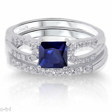 Princess Cut Blue Sapphire Engagement / Wedding Sterling Silver Two Ring Set