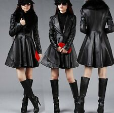 Black coat Women's Long Slim leather jacket skirt leather trench windbreaker fur