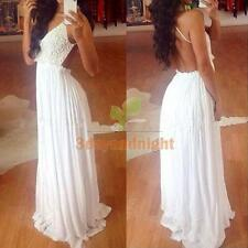 Women Sexy Lace Backless Strap BodyCon Cocktail Evening Party Long Maxi Dress NI