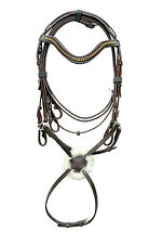 Leather Brown Grackle Figure8 Bridle with Golden Diamonte on Browband + Reins